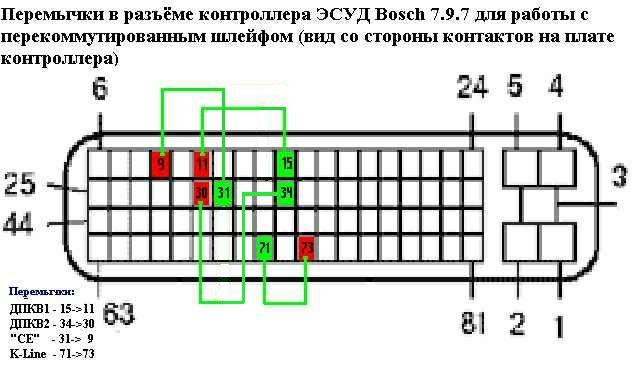 наименование контактов контролера Бош 0281001592
