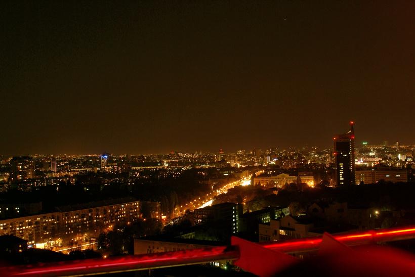 Киев. Город с высоты птичьего полёта. Смотровая площадка жилого комплекса Александровский