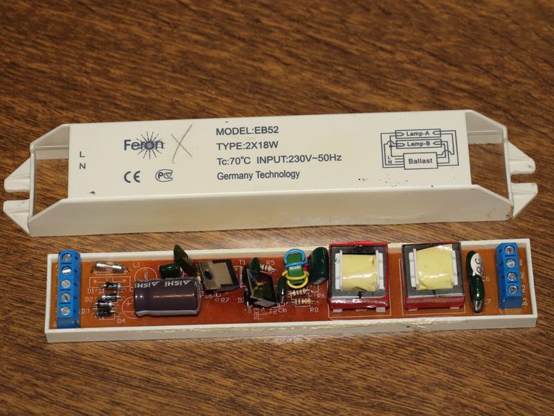 Электронный балласт 2x36w схема подключения