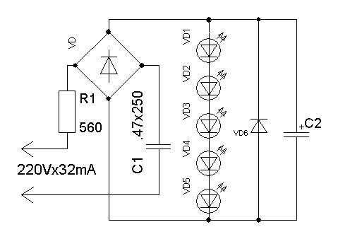 Подключения светодиодной ленты к 220 в своими руками схема
