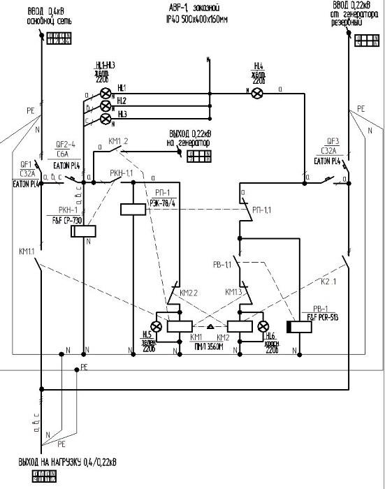 """Схема АВРа  """"сеть 0,4кВ-генератор 0,22кВ с автозапуском """" ."""