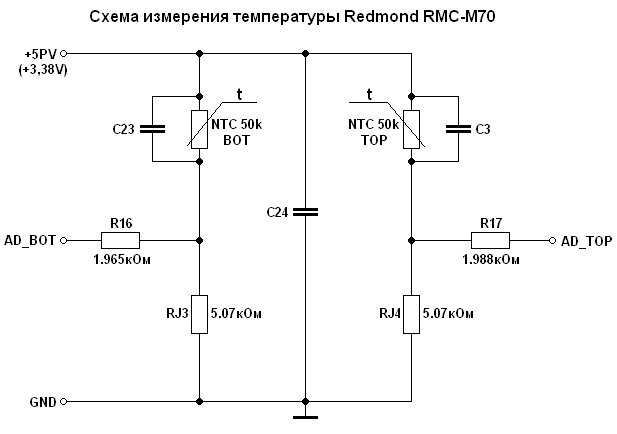 Схема измерения температуры.