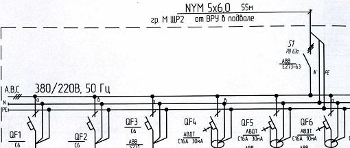 Обозначение тока автомата на схеме