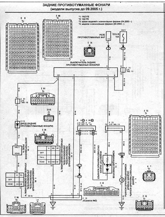 Схема подключения задних противотуманных фонарей на Toyota Corolla Spacio.