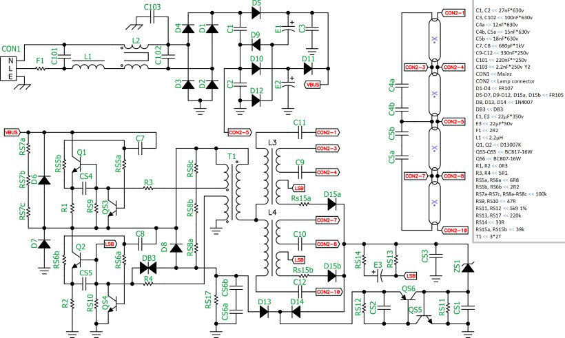 Принципиальная схема электронного балласта 2х36 модель 236