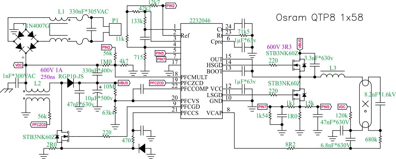 схема балласта блока розжига ксенона