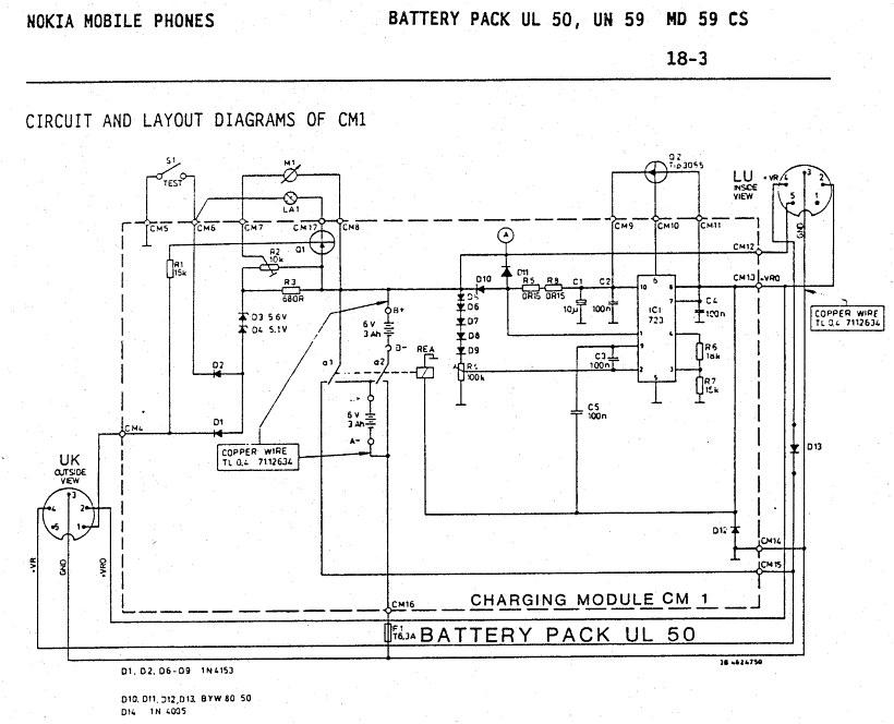 Схема батареи - Nokia SV1300