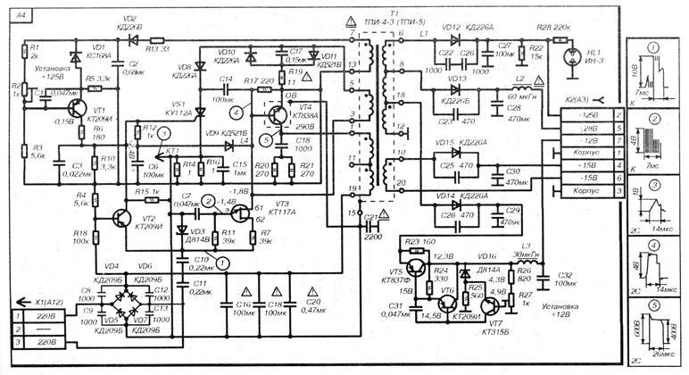 Рассмотрим принципиальную схему модуля питания МП-3-3.  Схема состоит из двухполупериодного выпрямителя на диодах...
