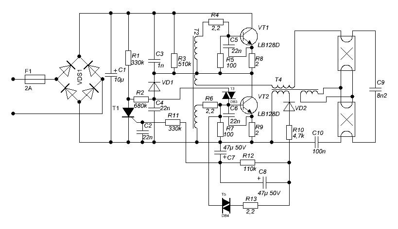 Электронный балласт лайт люкс eb 2x36 схема