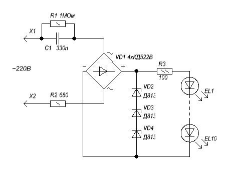 Схема светодиодного ночника